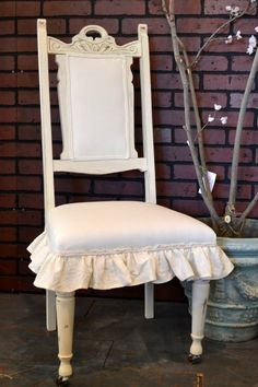 Vintage Chair painted with Old White Chalk Paint® decorative paint by Annie Sloan and Linen fabric hand dyed with Old White as well.