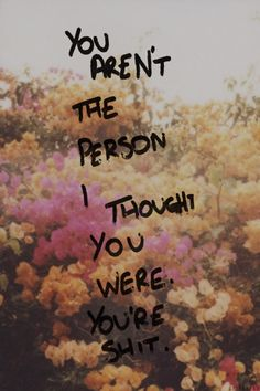 You aren't the person I thought you were. You're shit