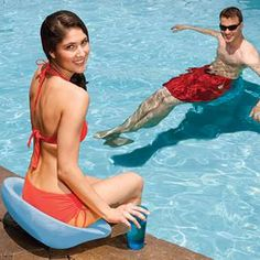 SwimWays Swim-Up Seat - $11.95. A simple floating pool chair made in the USA. Stacks easy for storage. No inflation required.