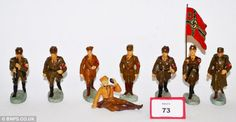 The toys that brainwashed German children throughout World War ll. Hitler performing a Nazi salute, a wartime marching band and a figure of Rudolf Hess. Figures of the Nazi leader were sought-after in the Third Reich. Two rare collections emerged for sale at auction fetching more than £7,000. Toys were part of the Nazi propaganda machine to boost the Hitler Youth
