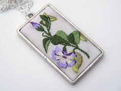 Embroidered Periwinkle pendant