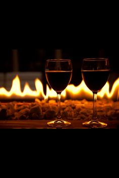 Wine by the fire on a chilly evening....