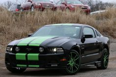 2014 Ford Mustang GT Sherrod Black Green Stripes Click to find out more - http://newmusclecars.org/2014-ford-mustang-gt-sherrod-black-green-stripes/