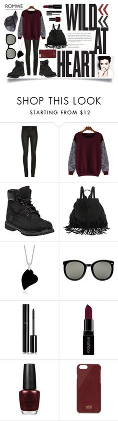 """Wild Wines and Leathers"" by prettyraveghost ❤ liked on Polyvore featuring Timberland, RelavenO, Karen Walker, Chanel, Smashbox, OPI, Native Union, GUESS, women's clothing and women's fashion"