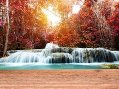 Wood table top on waterfall by Pushish Images on @creativemarket