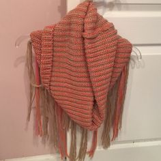 ‼️FREE PEOPLE fringe scarf‼️ Pink  and super warm. Never worn! Limited time only! Free People Accessories Scarves & Wraps