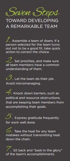7 Steps Toward a Remarkable Team #teambuilding #leadership