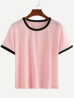 Pink Contrast Round Neck T-shirt -SheIn(Sheinside) Mobile Site