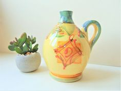 Provence Pottery Flagon Vallauris Area Hand Painted Hand Made French Tableware