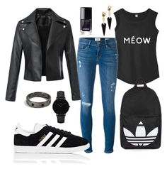 """""""Street Black"""" by daniellecarso on Polyvore featuring Frame, adidas, Topshop, Alexis Bittar and CLUSE"""