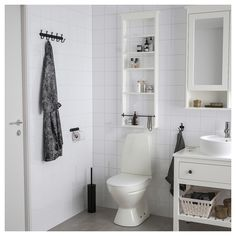 IKEA - HEMNES, Wall shelf, white, Perfect in a small bathroom since the wall shelf is shallow. The open shelves give an easy overview and are perfect for perfume bottles or other things that you use frequently. Bathroom Shelving Unit, Bathroom Storage, Small Bathroom, Bathroom Marble, Bathroom Cabinets, Bathroom Fixtures, Bathroom Rugs, Bathroom Ideas, Shower Ideas