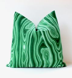 "Emerald Green Malachite Decorative Designer Pillow Cover 18"" Accent Cushion natural curiosities stone jewel tones gemstone kelly green"