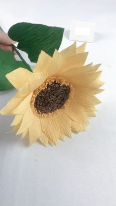DIY Paper Sunflower - A simple tutorial to show you how to DIY a paper sunflower. If you love our work, feel free to fol - Paper Crafts Origami, Easy Paper Crafts, Diy Arts And Crafts, Fabric Crafts, Wood Crafts, Paper Sunflowers, Tissue Paper Flowers, Handmade Flowers, Diy Flowers