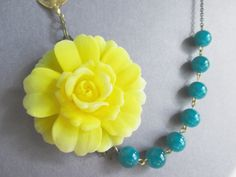 Statement Necklace,Yellow Flower Necklace,Beadwork,Bridesmaid Jewelry Set,Teal Jewelry,Bib Necklace,Strand Jewelry(Free matching Earrings)