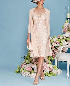 91e761b598a6 Custom Made Light Pink Women s Mother of The Groom Dresses Tea Length With  Jacket