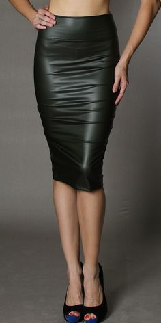 High Waist Faux Leather Knee Length Pencil Skirt - Skirts - Clothing