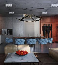 Sergey Makhno Architect Interior Design Apartment With Coltrane hanging lamp