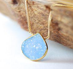 Hokulani necklace  sky blue gold druzy necklace by kealohajewelry, $96.00