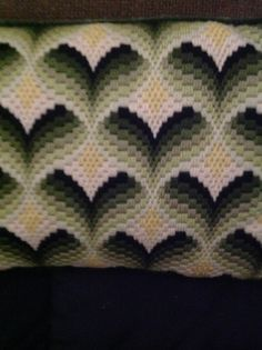 Needlepoint Pillow - Bargello Pattern - Handmade - 14 inches by 8 1/2 inches…