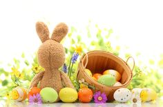 Easter Photography Backdrops Flowers Colorful Eggs by katehome2014