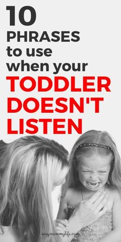 10 Phrases To Use When Your Toddler Doesn't Listen - Easy Mommy Life 10 Phrases To Use When Your Toddler Doesn't Listen. Here are positive discipline tips to get your toddler to listen during a toddle Discipline Positive, Toddler Discipline, Peaceful Parenting, Gentle Parenting, Parenting Toddlers, Parenting Hacks, Parenting Classes, Disciplining Toddlers, Baby Activity