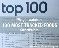 Weight Watchers Top 100 Most Tracked Foods with SmartPoints http://simple-nourished-living.com/2016/05/top-100-tracked-foods-weight-watchers-online-tracker-smartpoints-values/Values