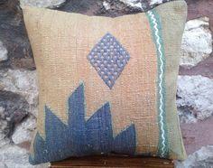 16' x 16' Handmade Sivas Kilim Cicim Pillow Cover, 40 years old rug, green powder blue geometric pattern, pastel cushion, vintage 1970s.