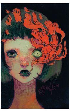 Creepy Art, Weird Art, Creepy Paintings, Arte Horror, Horror Art, Art Sketches, Art Drawings, Drawing Faces, Realistic Drawings