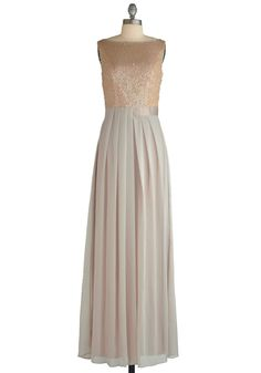 Dressed to Thrill Dress by Max and Cleo - Cream, Cutout, Pleats, Sequins, Maxi, Sleeveless, Formal, Wedding, Vintage Inspired, Long, Party, Solid, Spring, Prom