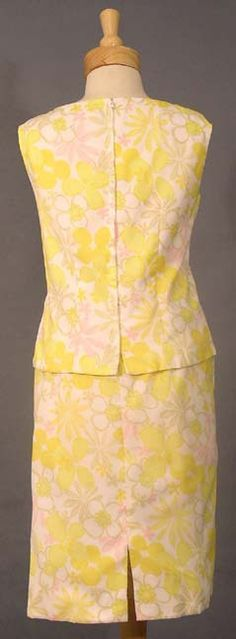 Cute Yellow Floral 1960's Two Piece - Vintageous, LLC