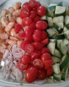 Prep for fresh summer shrimp pasta salad