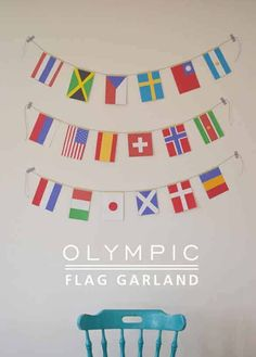 Olympic flag garland-- hang a flag from each person's country