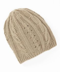 Look at this Beige Cable-Knit Beanie on #zulily today!