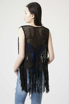 **Fringe Crochet Waistcoat by Glamorous - IN LOVE WITH CROCHET - We Love - Topshop