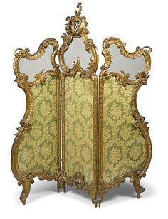 A French carved giltwood three-fold screen, in Louis XV styl