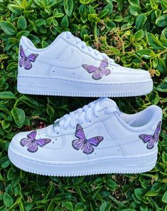 Each individual pair is handcrafted to orderNot paintedBrand new with boxFinal Sale. Non refundable/ No Exchanges.Turn around time weeks + Shipping Time(subject to change without notice depending on order volume) This is a specialty. Cute Nike Shoes, Cute Sneakers, Jordan Shoes Girls, Girls Shoes, Butterfly Shoes, Purple Butterfly, Hype Shoes, On Shoes, Nike Shoes Air Force