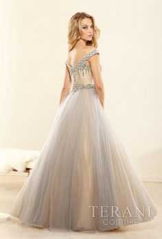 Sweetheart off-the-shoulder ball gown with crystal embellishments along the bust line and waistline Terani Prom #Long #PromDress #Silver #Vintage #Fashion #Style raelynns.com