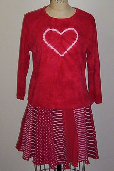 707027215d8e1 XL RED HEART top and skirt recycled by RevampReuse on Etsy