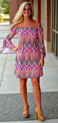 Cruisin the Coast In Pink Chevron *LONG* Tunic/Dress, $38.00