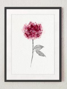 Hortensie-Startseite Floral Haustür Blume Aquarell in Lila