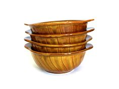 Crown Lynn Soup Bowls - Vintage Retro Honey Caramel Serving Dishes Tab Handled 1169 - Set of 4 - Made in New Zealand