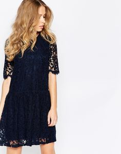 S Tall Lace Dress With Drop Waist styles. Shop easier with ASOS' multiple payments and return options (Ts&Cs apply). Asos, Navy Lace, Blue Lace, Latest Fashion Clothes, Fashion Online, Style Fashion, Latest Dress, Online Shopping Clothes, Party Dress