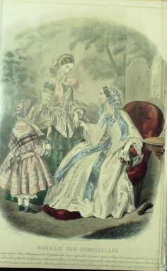 August 1855  ++++++++++  GRAVURE de MODE AUTHENTIQUE-M158-MAGASIN DEMOISELLES-ROBE DE BAL-1854