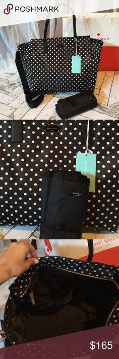 NWT Kate Spade Diaper Bag Brand new with tags authentic Kate Spade black avenue diaper bag. Beautiful black and white polka dot nylon easy to wash material. Finished with black leather straps and silver hardware. Two exterior bottle pockets and one large interior pocket. Diaper changing pad is included. Strap is detachable so you can carry as either a crossbody or by the handles. kate spade Bags Baby Bags