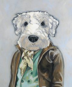 Dogs in clothes: custom pet portraits by Heather Mattoon via @Rue Mapp Magazine