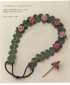 Crochet hair accessories pattern by LibraryPatterns - Crochet Hair Styles Crochet Hair Accessories, Crochet Hair Styles, Crochet Books, Crochet Crafts, Crochet Motif Patterns, Japanese Crochet Patterns, Crochet Designs, Fleurs Diy, Diy Headband