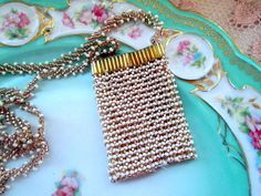 Vintage Glass seed Bead Purse Necklace Art Deco by Holliezhobbiez, $20.00