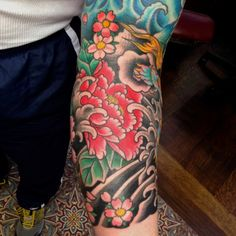 peony flower tattoo, Luke Wessman