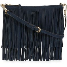 Rebecca Minkoff Finn Fringe Suede Crossbody Bag ($210) ❤ liked on Polyvore featuring bags, handbags, shoulder bags, moon, crossbody purse, blue suede handbag, suede shoulder bag, blue suede purse and suede handbags