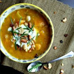 Nothing says fall quite like this sweet potato soup topped with buttered cashews, crème fraîche, and fresh rosemary!